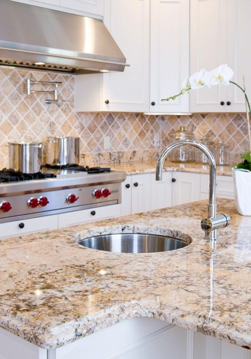 Thick Granite Slab In Gorgeous Sand With Matching Backsplash For