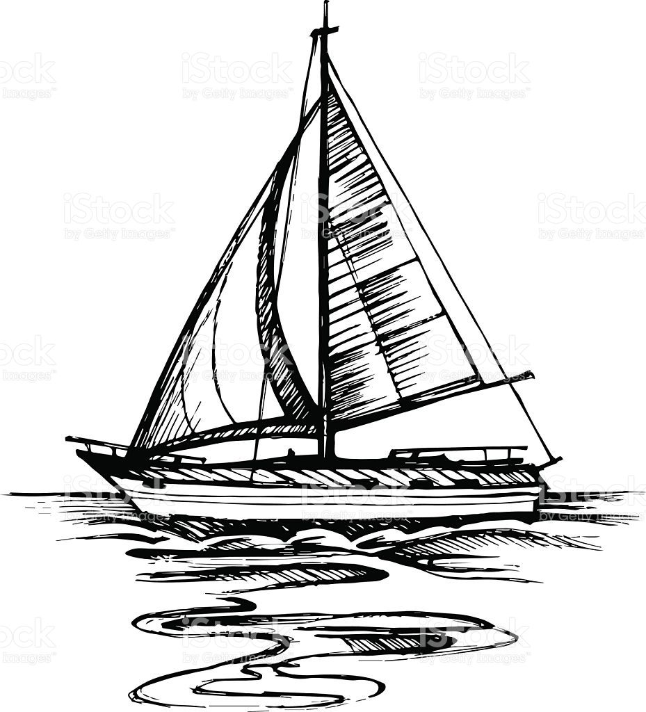 Sailing Boat Vector Sketch Isolated With Reflection Sea Yacht