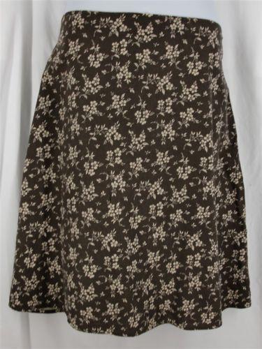XL 18 EDDIE BAUER Skirt Brown Tan Floral Linen Blend A Line Knee Length