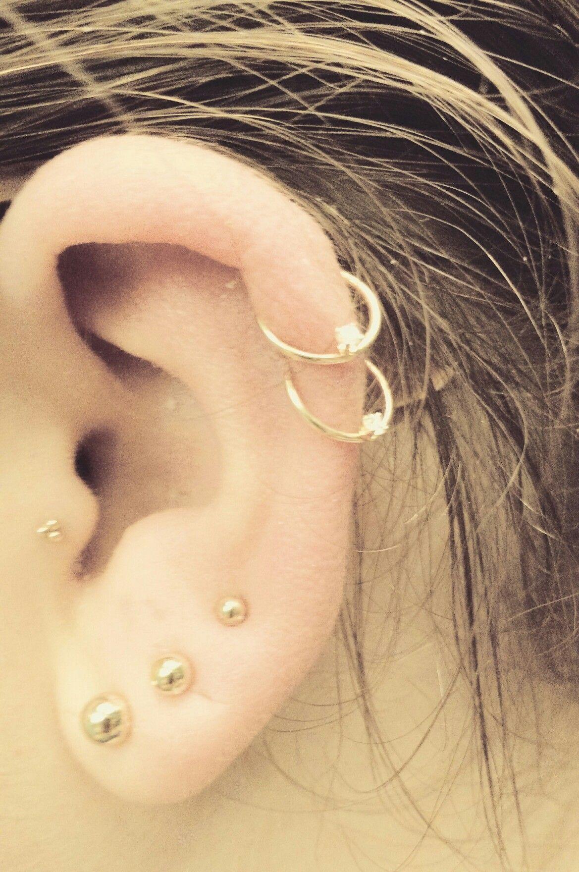 Double Helix, Tragus, 3 Lobe, Gold Earrings, Cartilage, Fashion, Multiple
