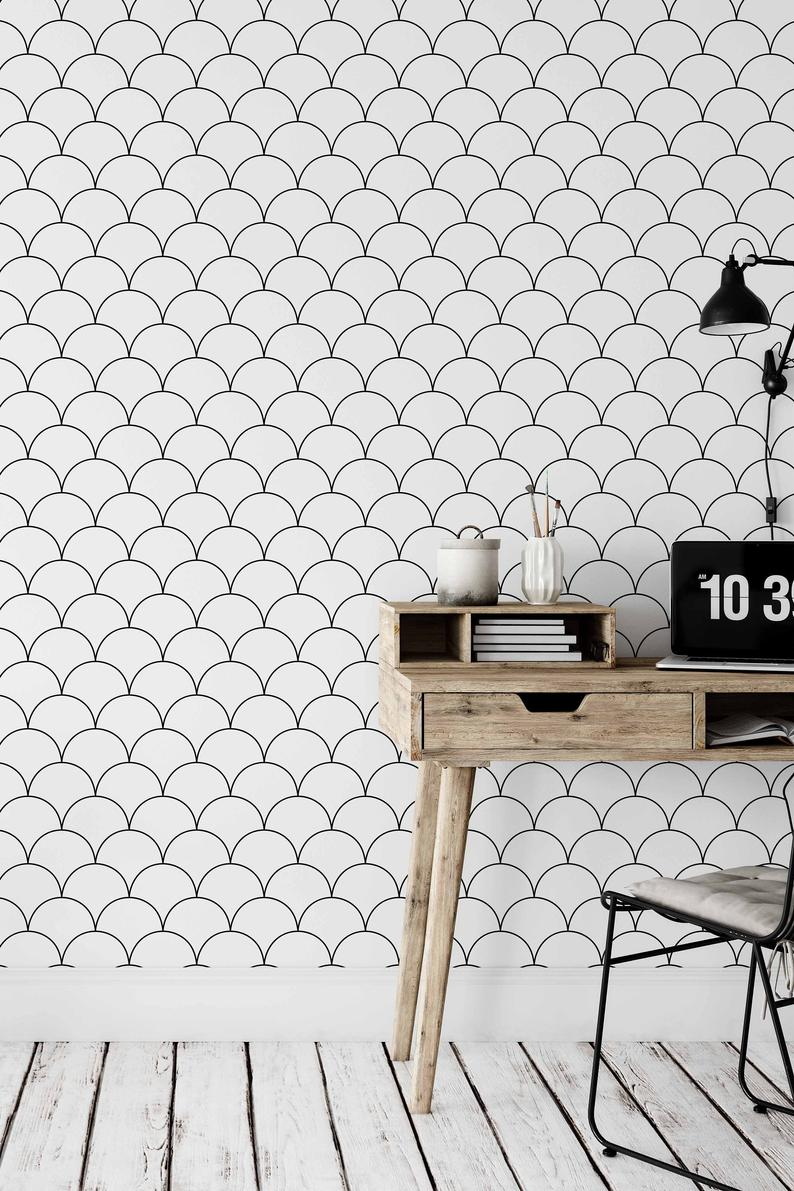 Wallpaper With Scallop Pattern Black And White Removable Etsy Removable Wallpaper Peel And Stick Wallpaper Scandinavian Wallpaper