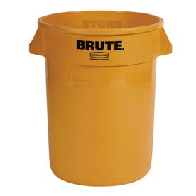 Rubbermaid Commercial Products Brute 32 Gallon Yellow Plastic Touchless Trash Can Fg263200yel Rubbermaid Trash Can Outdoor Trash Cans