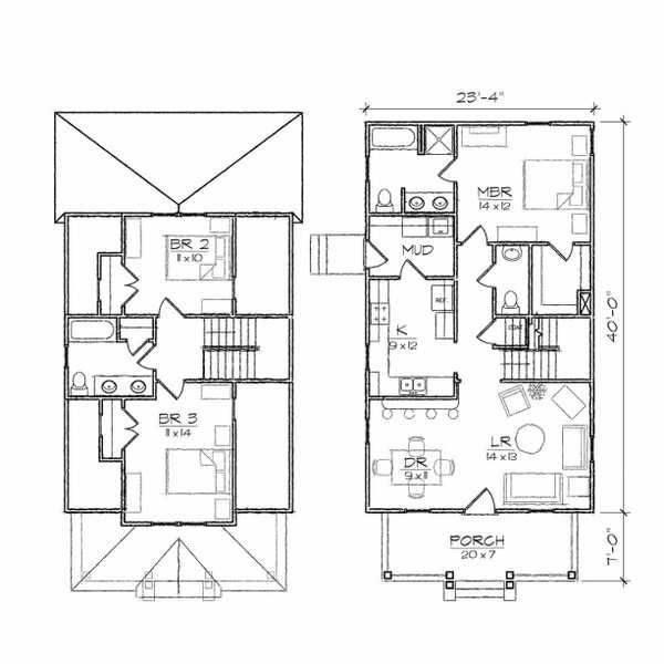 Architecture clever bungalow floor plan two story house for Small 2 story house plans
