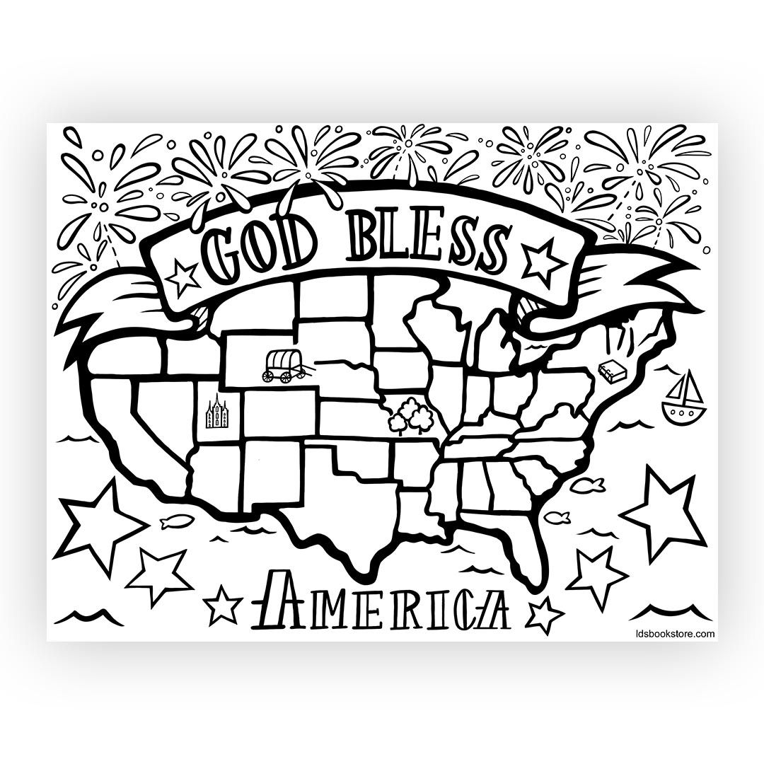 God Bless America Coloring Page Flag coloring pages