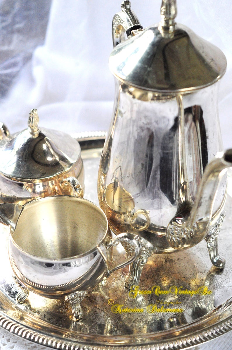 Vintage Silver plated England Metal Coffee Tea Service