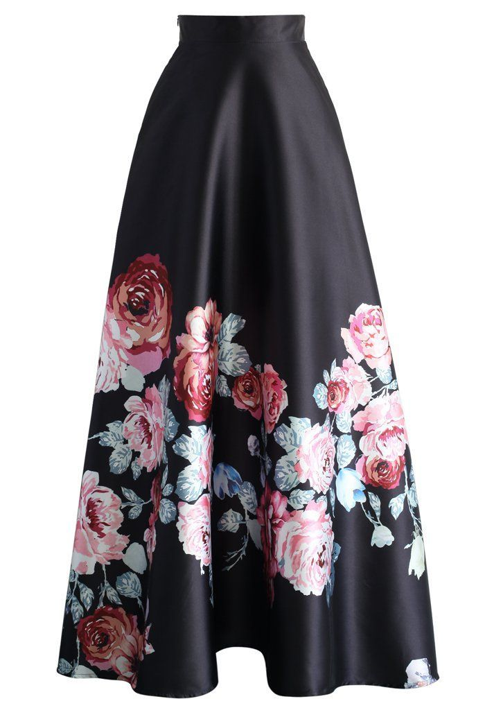awesome Endless Blooming Rose Maxi Skirt - Retro, Indie and Unique ...