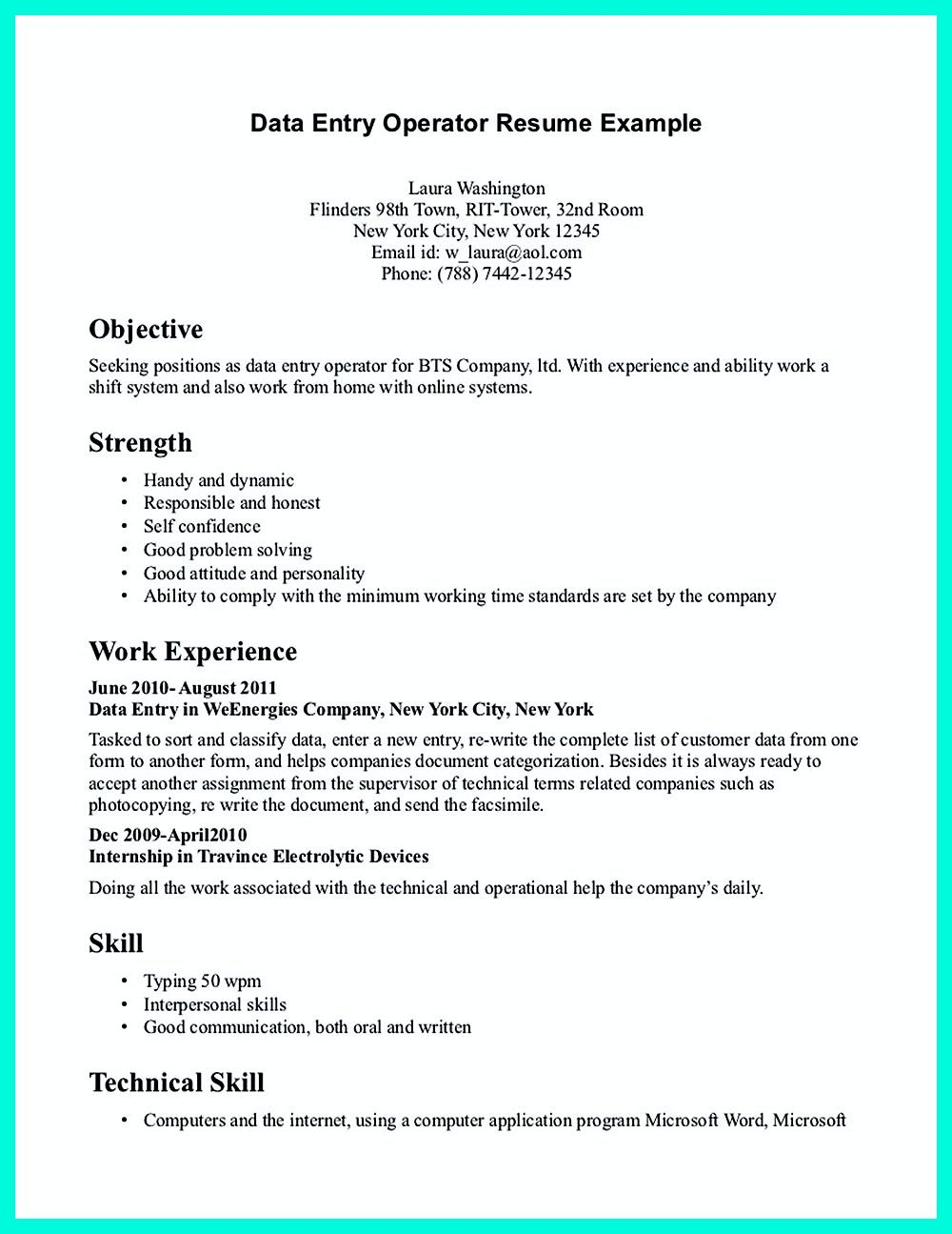Your data entry resume is the essential marketing key to get the job ...