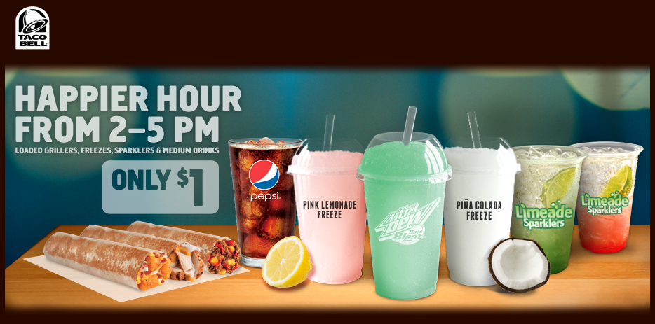 Taco Bell Deal! Taco bell coupons, Happy hour drinks