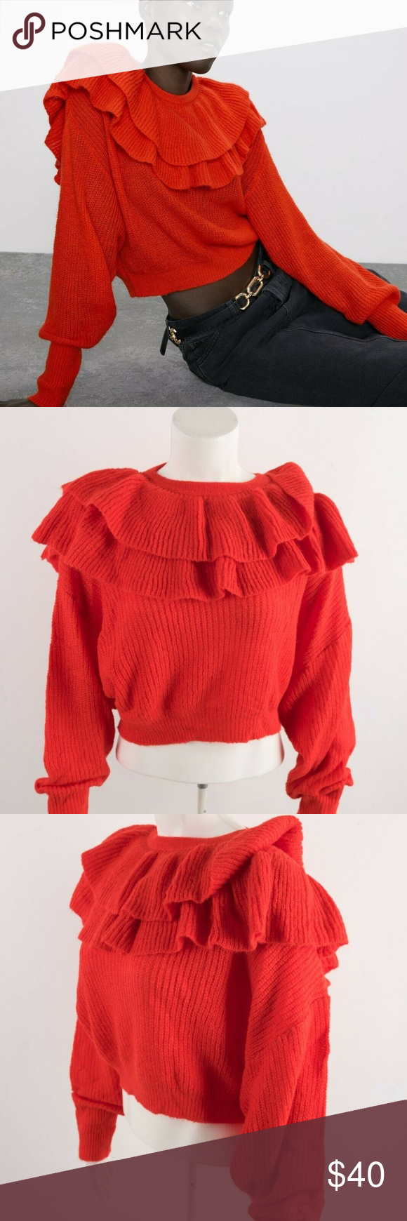 Cotton womens sweater.Ruffle top sweater.Cotton ruffle top.Womens ruffle short sweater..Stripe crop jumper.Vintage Stripe Knit Sweater