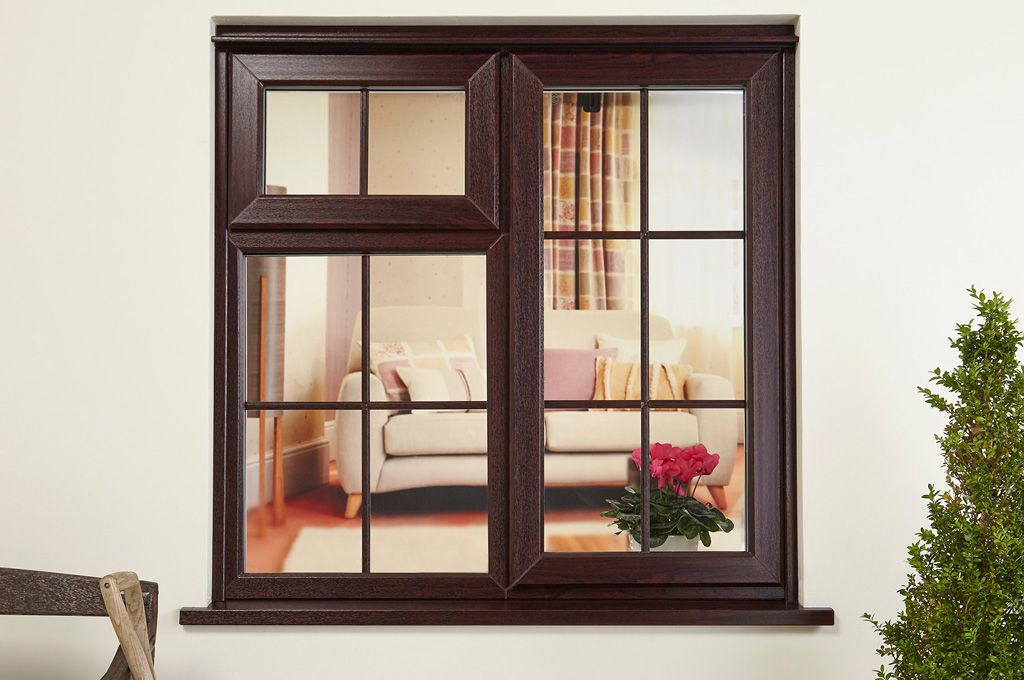 A rosewood brown everest upvc casement window with for Brown upvc door