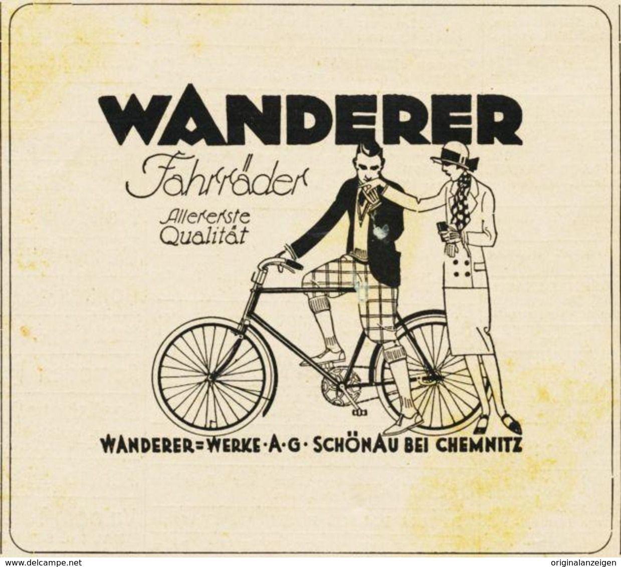 Original Werbung Anzeige 1926 Wanderer Fahrrad Schonau Bei