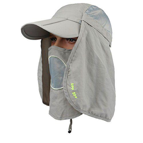 GADIEMKENSD UPF 50+ Folding Fishing Hat Adjustable UV Protection Mask  Removable Legion Hat 360 Outdoor 22514ec6dc73