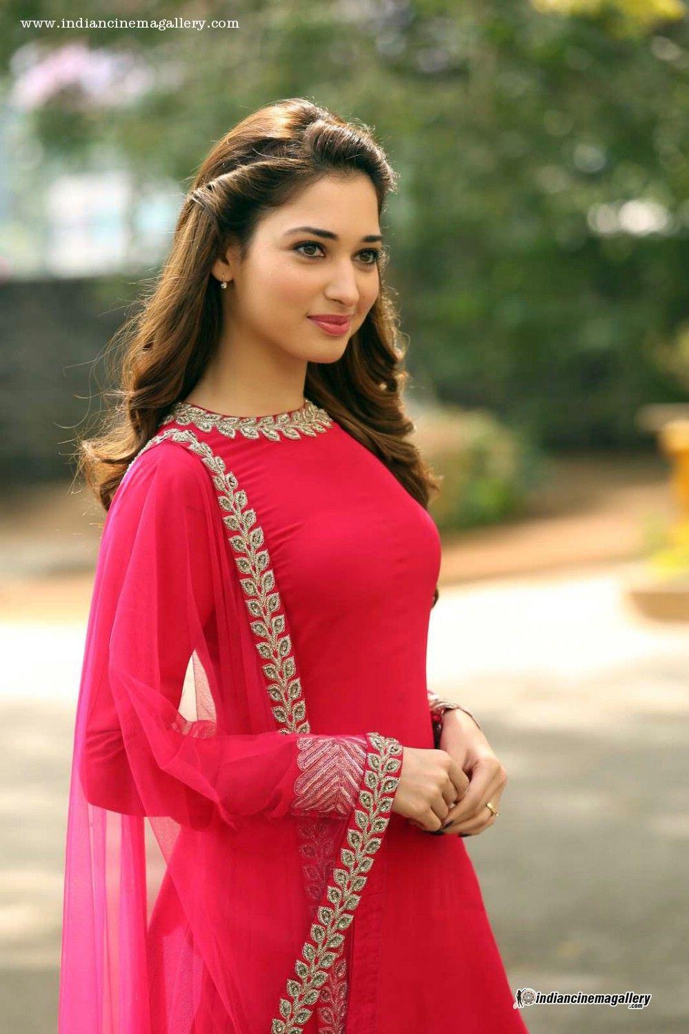 tamanna-bhatia-in-red-salwar-stills-(6) | Indian Fashion ...