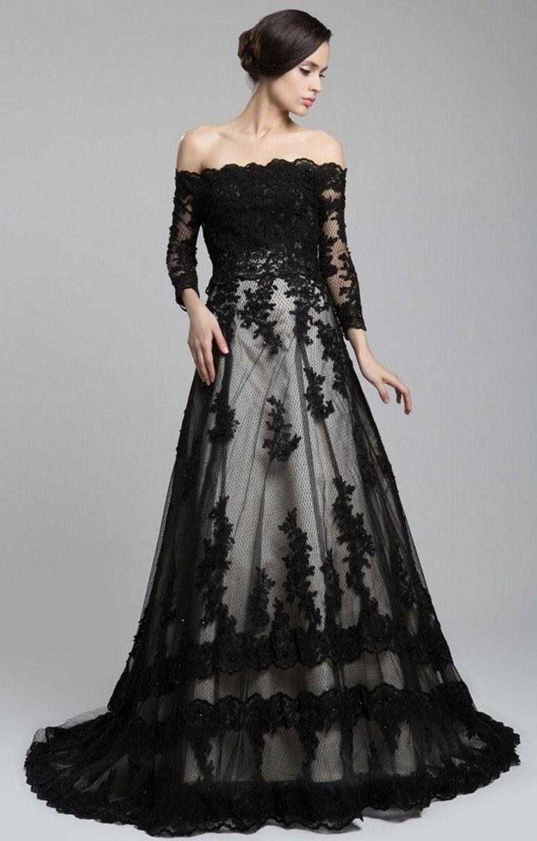 30 Black Long Sleeve Wedding Dresses Ideas Long Sleeve Wedding Dress Lace Black Wedding Dresses Black Lace Wedding [ 1200 x 767 Pixel ]