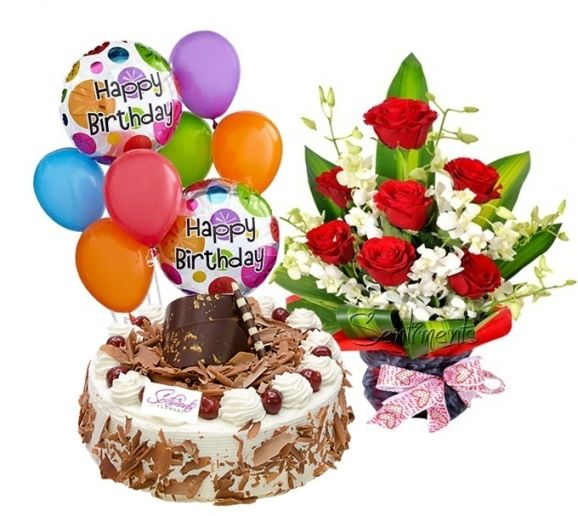 Image For Birthday Cake Flowers Balloons Lorna Happy Birthday