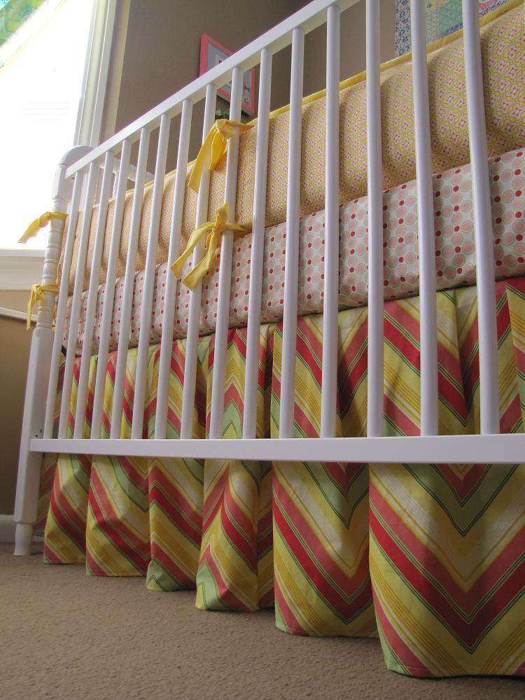 4 items Pop Garden baby bedding with bumper set, crib sheet, ruffled crib skirt and soft blanket. $247.00, via Etsy.