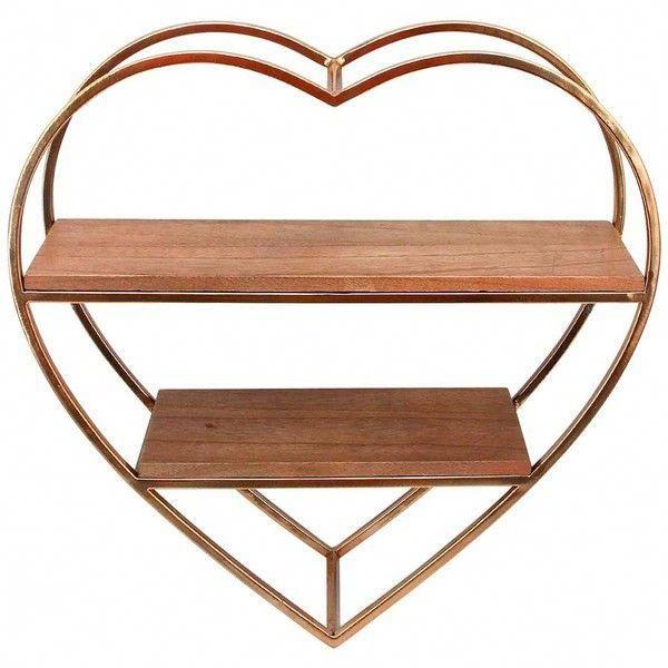 SAGEBROOK HOME Heart Shape Metal  Wood Wall Shelf (38 CAD) ❤ liked