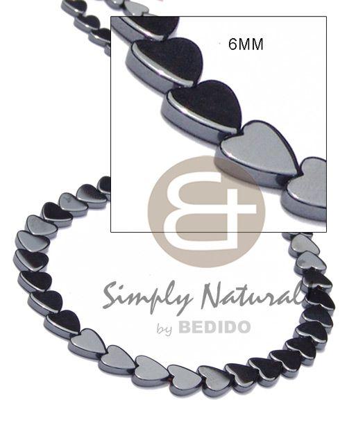 7e7fbcd254e3 Unisexo Hematita Plateado Y Brillante Corazón De Piedra Opaca De 6 Mm En  Cable Mágico Collar