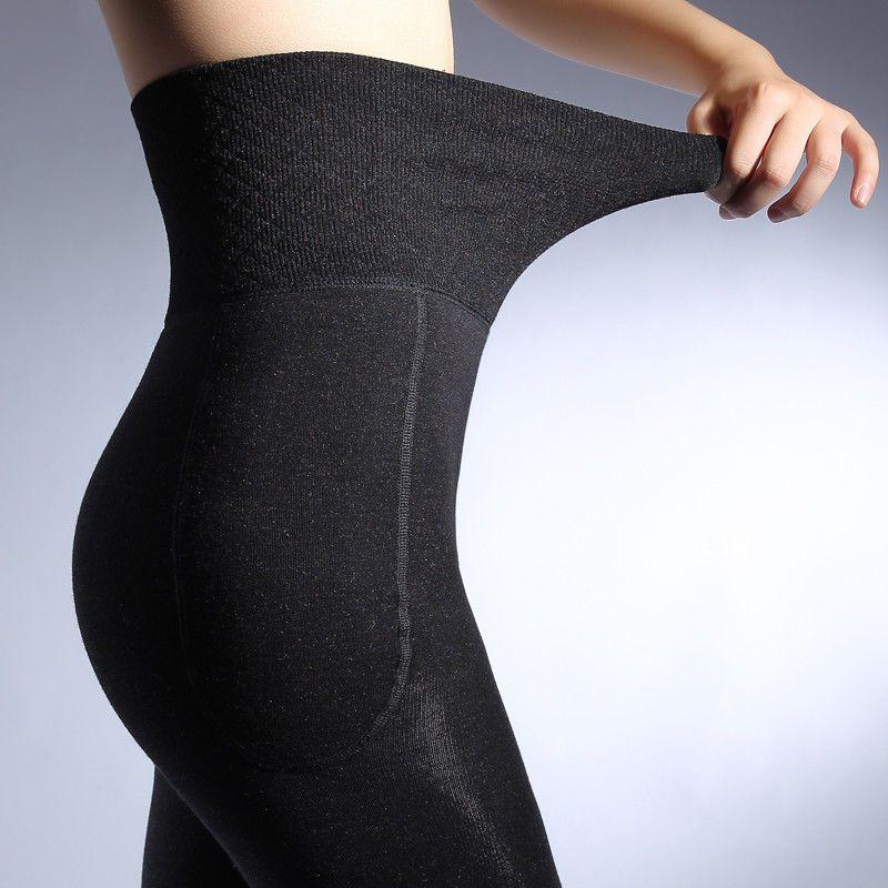 24a7f32dc56a06 High Waist Slimming Thicken Leggings Thick Winter Warm Stretch Elastic Pants  #Feilibin #Casual #Casual