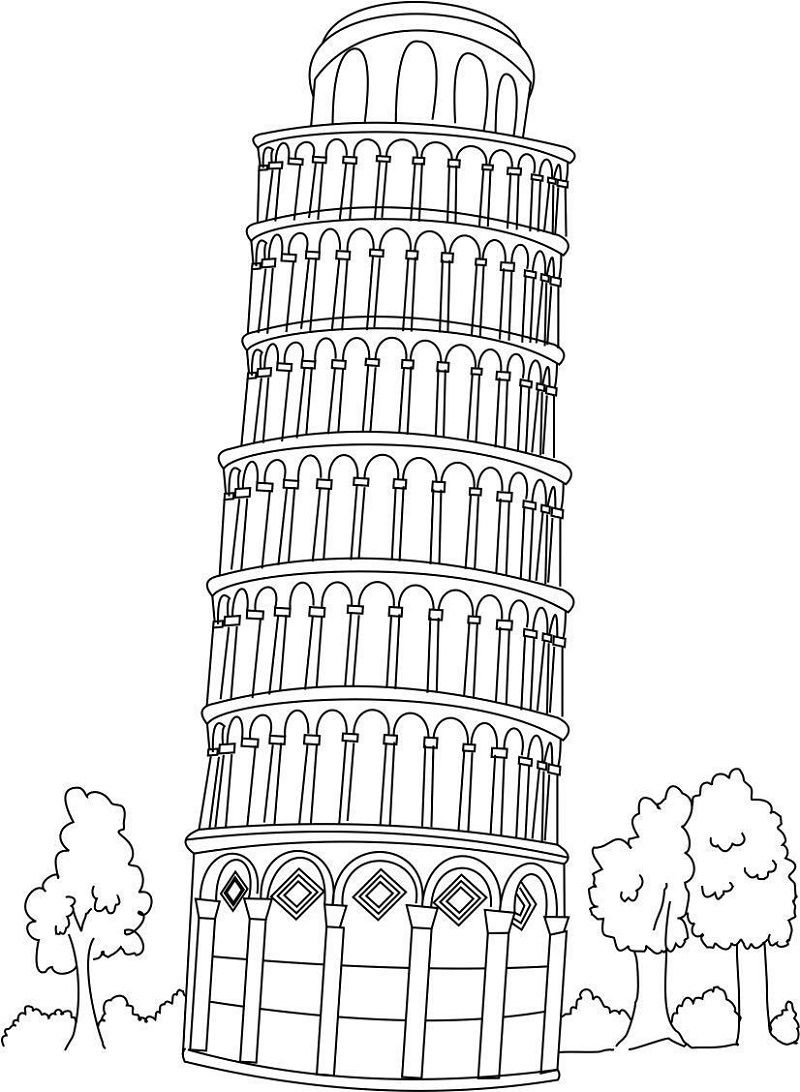 Italy Pisa Tower Coloring Page Educative Printable Geography