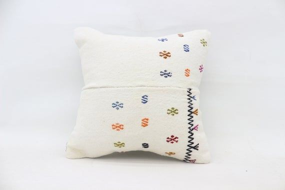 Turkish Kilim Pillow, 16x16 Nomadic Pillow, Pillow Covers, White Pillow, Vintage Pillow, Patterned P