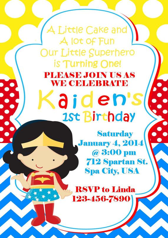 Wonder Woman Inspired Invitation Superhero By Pinkinkpartyboutique