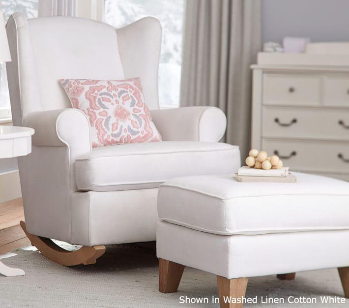 White Wingback Rocker Nursery Glider Chair Rocking