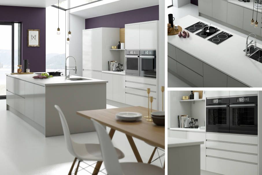 handleless pebble gloss - infinity plus range (wren kitchens