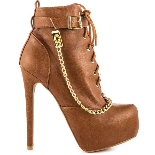 Qupid Women's Angela - Cognac Pu ($57) ❤ liked on Polyvore featuring shoes, boots, ankle booties, heels, brown, platform ankle boots, ankle boots, high heel ankle boots, lace up ankle boots and high heel booties