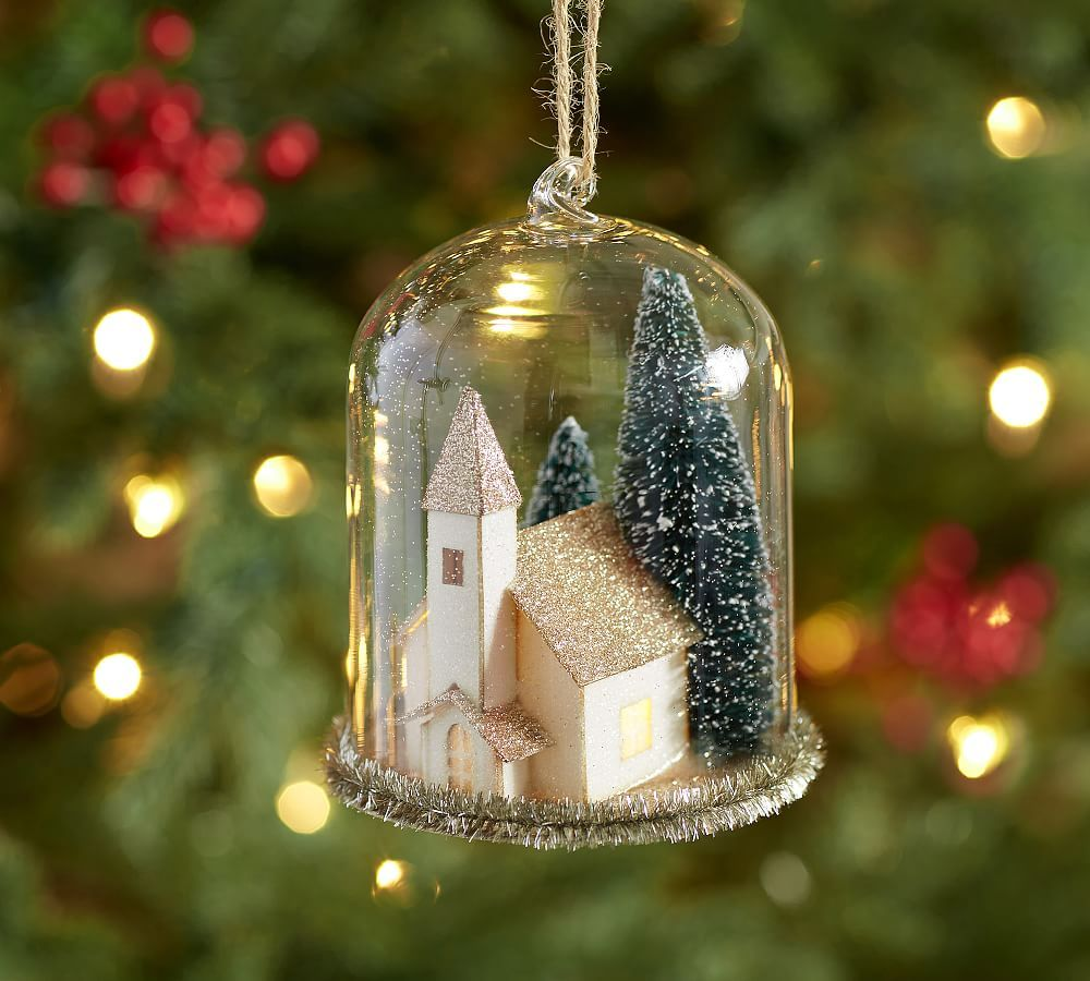 e6e2864ed8e55b Lit House Cloche Ornament | Products | Christmas tree decorations ...