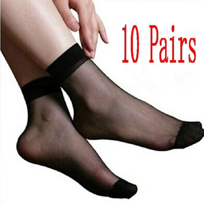 a543d158ac7 10 Pairs Sexy Women s Ultra Thin Silk Girl Short Stockings Ankle Low Cut  Socks   Condition  100% Brand New Color  Black