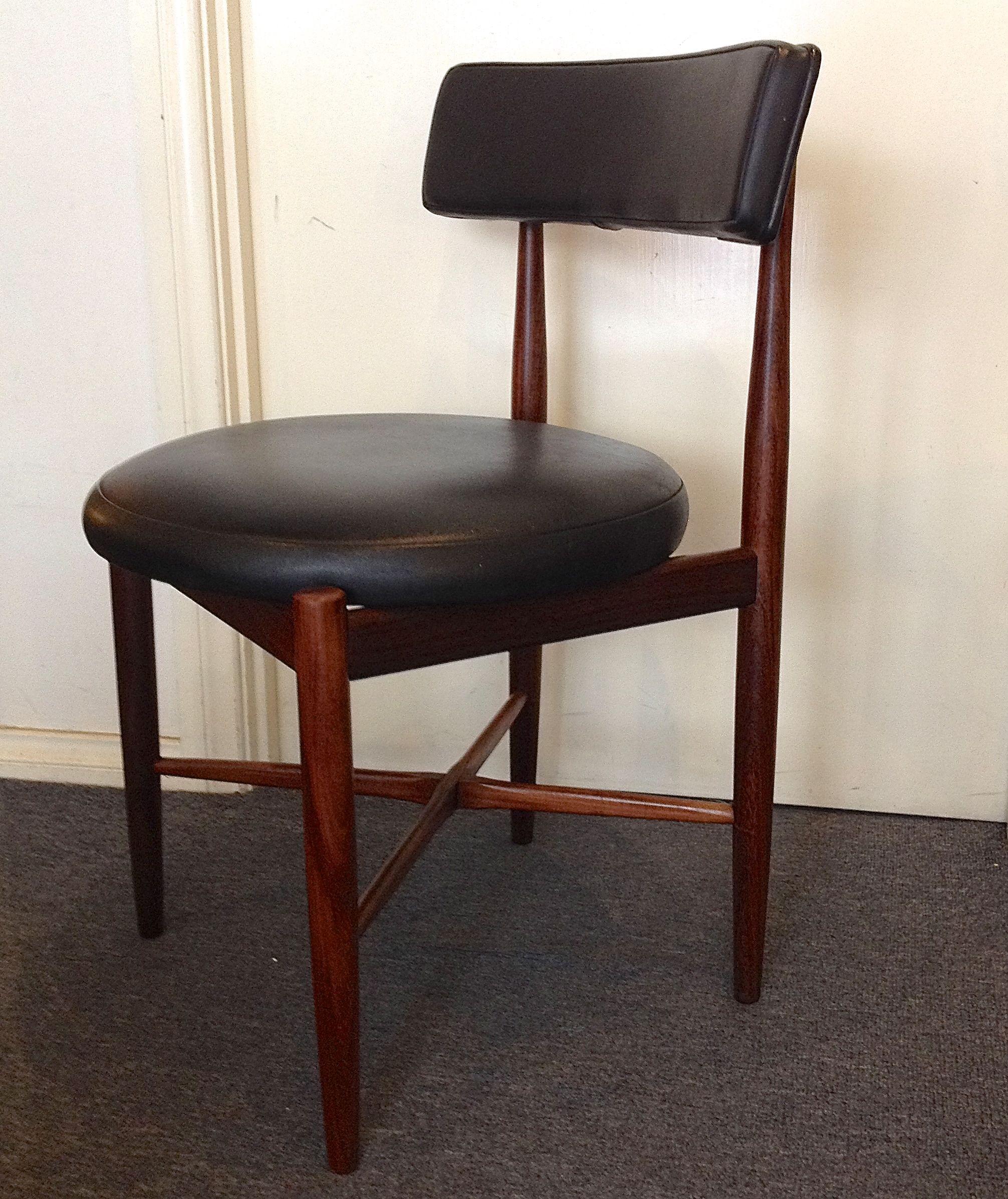 G Plan set 6 teak dining chairs made in England circular seats