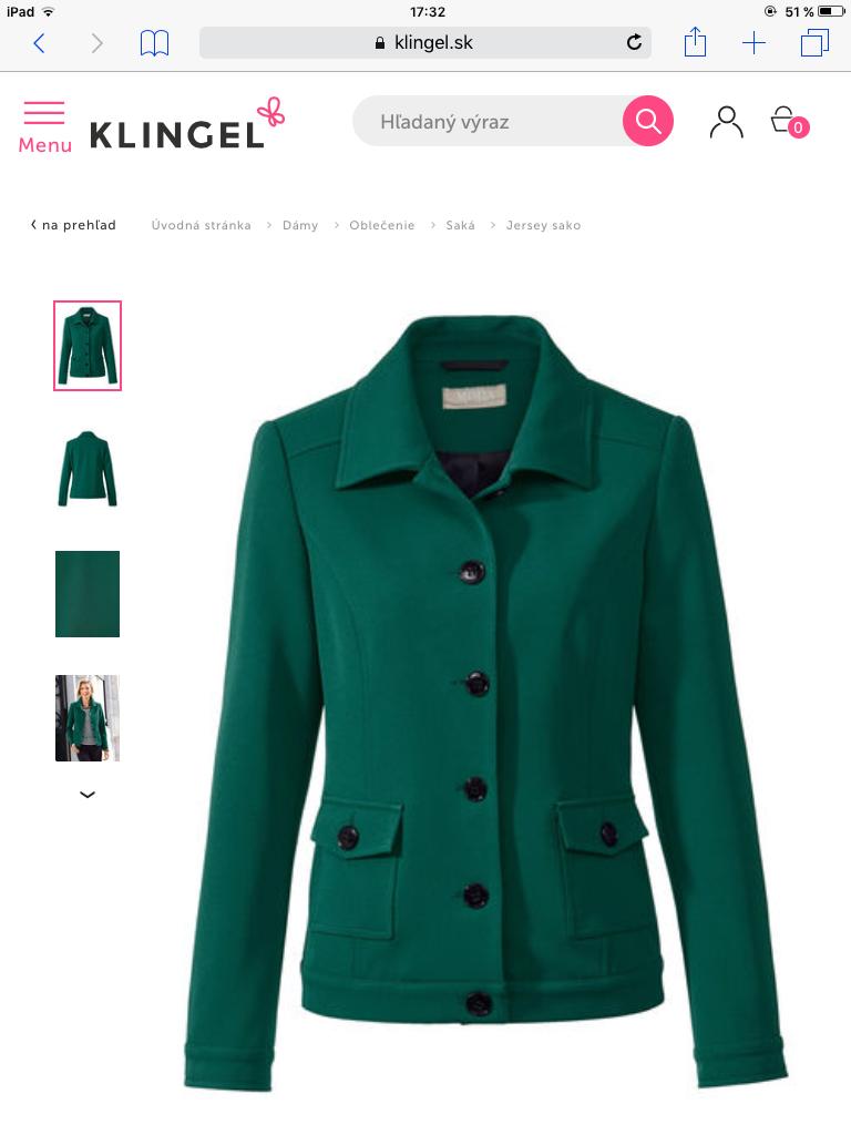 This nice blazer you can buy on Klingel.sk. Toto pekné tmavozelené ...