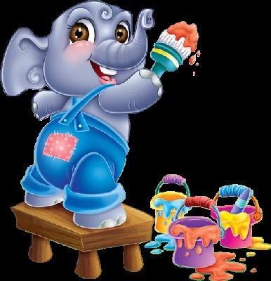 Un peu de peinture elephant colors theme colors teaching - Dessin elephant rigolo ...