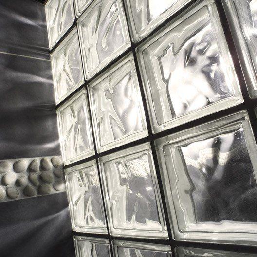 Brique de verre, transparent ondulé brillant Décoration intérieure