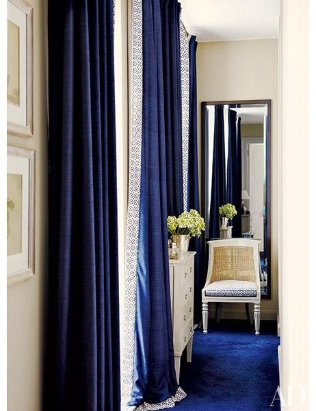We Can T Get Enough Of This Color Combo Blue Curtains Living Room White Rooms Blue Curtains