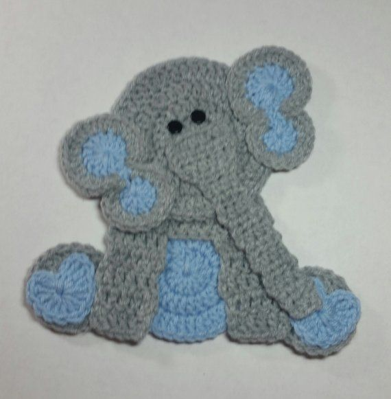 Sitting Elephant Applique With Light Blue Ears / Crochet Elephant