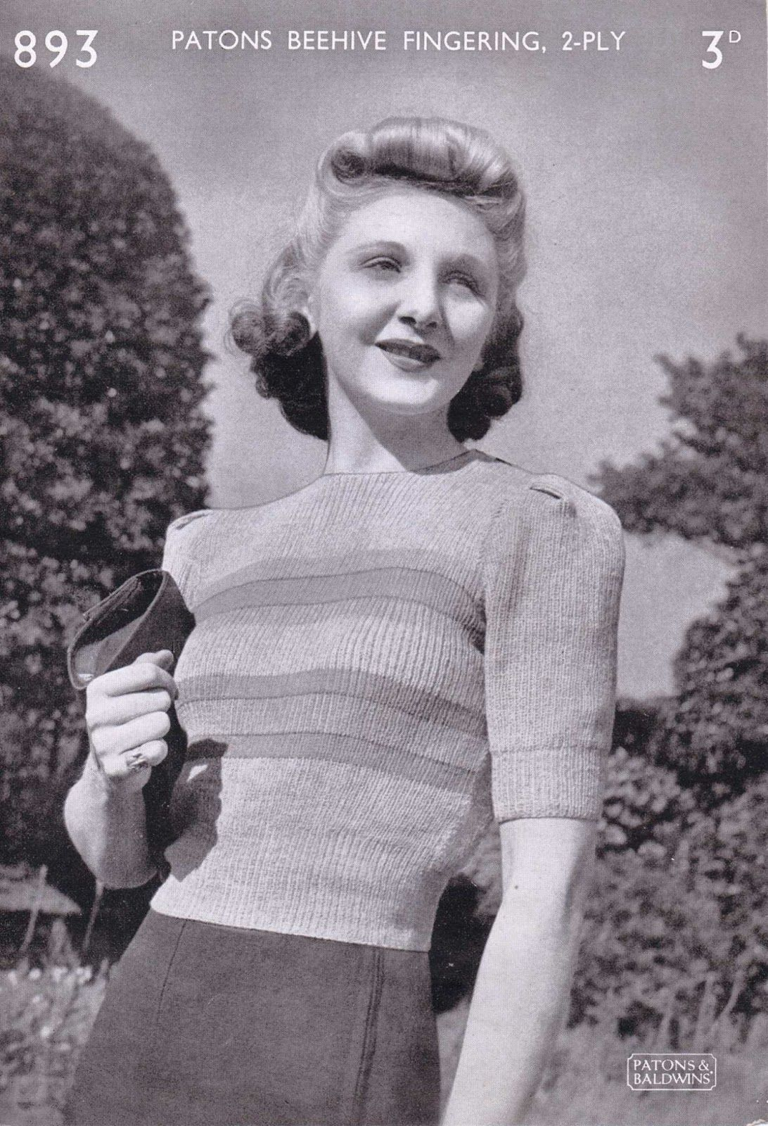 Free 1940s Knitting - Womens Jumper Patons 893   Clothes   Pinterest ...