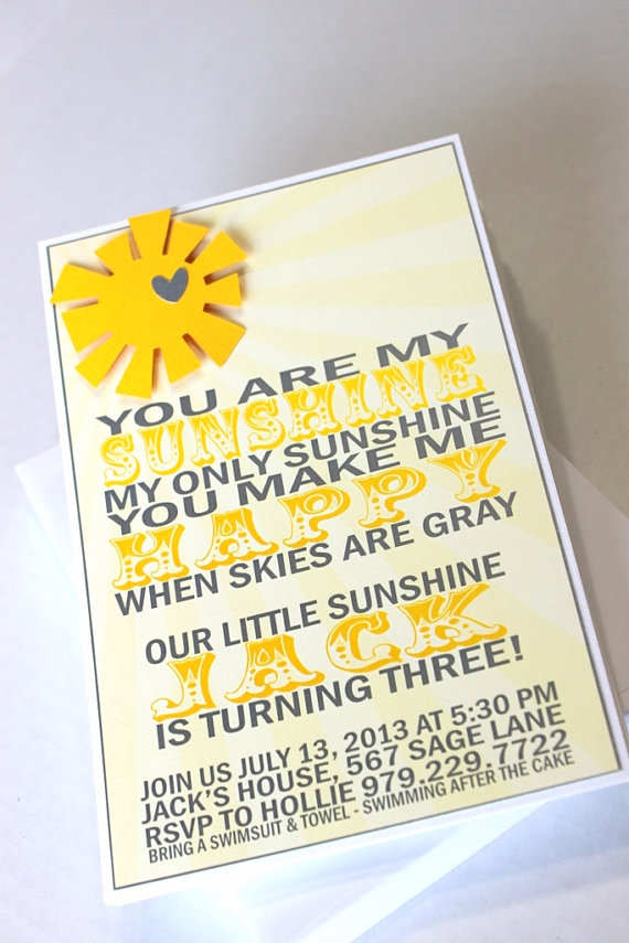 You Are My Sunshine invitations (30) - birthday party, baby shower ...