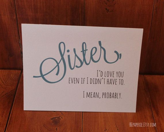 Sister Card Sister Birthday Card Funny Card By Bepaperie