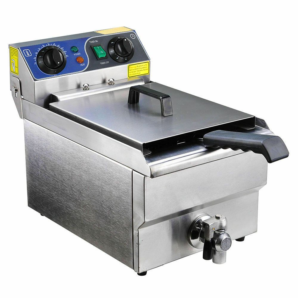 Commercial Electric 11.7L Deep Fryer Food Timer Drain