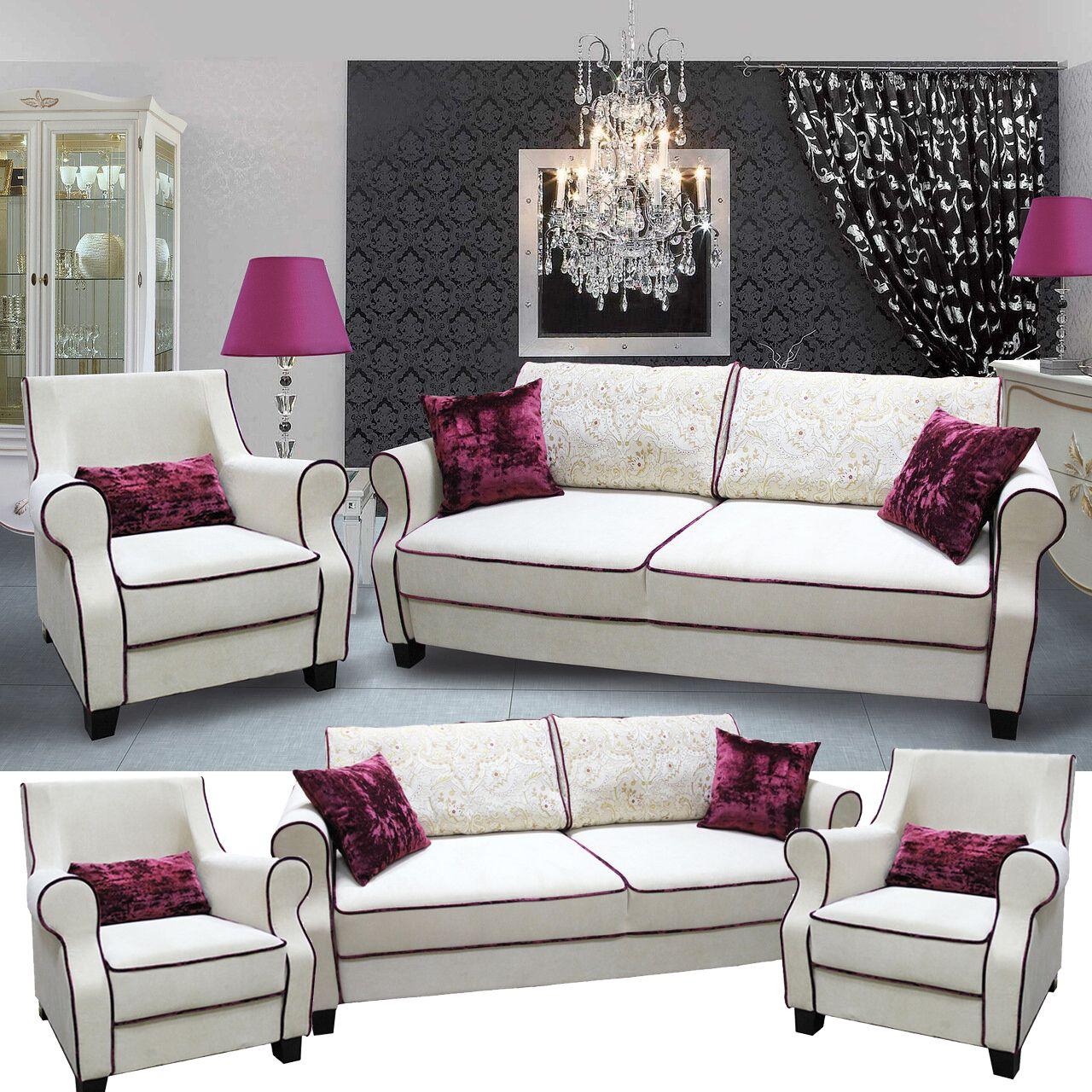 Jackeline Couchgarnitur 2 Sitzer Schlafcouch Mit 2 Sesseln Weiß Schwarz Haus Deko Couch Couchgarnitur