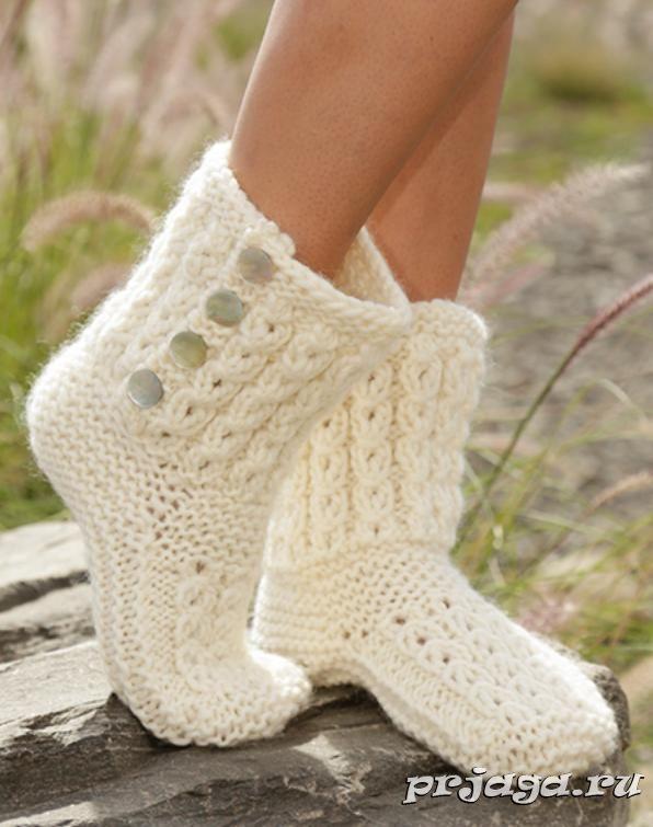 Следки – сапожки спицами | knitting Slippers | Pinterest