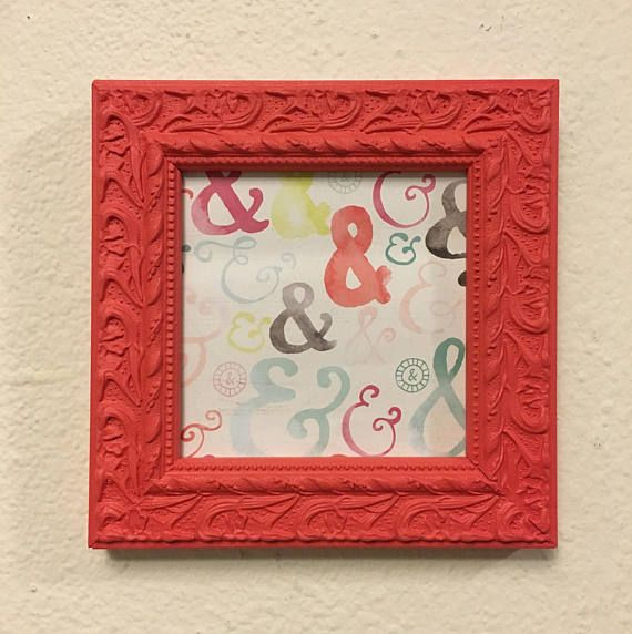 Picture Frame Upcycled Handpainted Coral Pink 5x5 Photo Frame