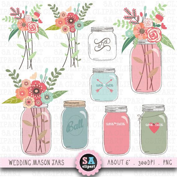 Mason Jar Clipart Wedding Clip Art Pack Vintage Flowers Hand