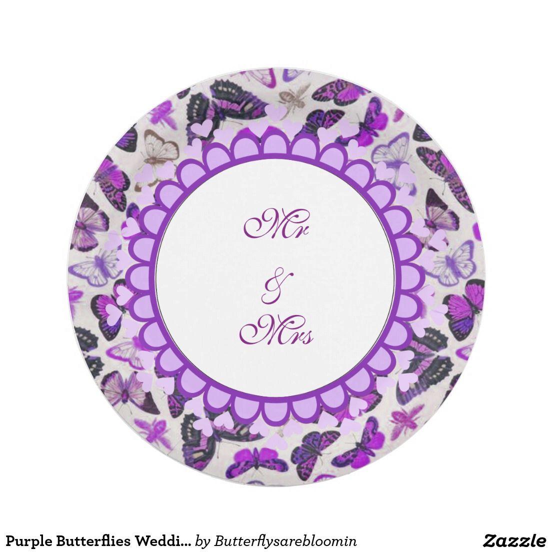 Purple Butterflies Wedding Paper Plates  sc 1 th 225 & Purple Butterflies Wedding Paper Plates | CUSTOM PAPER PLATES ...