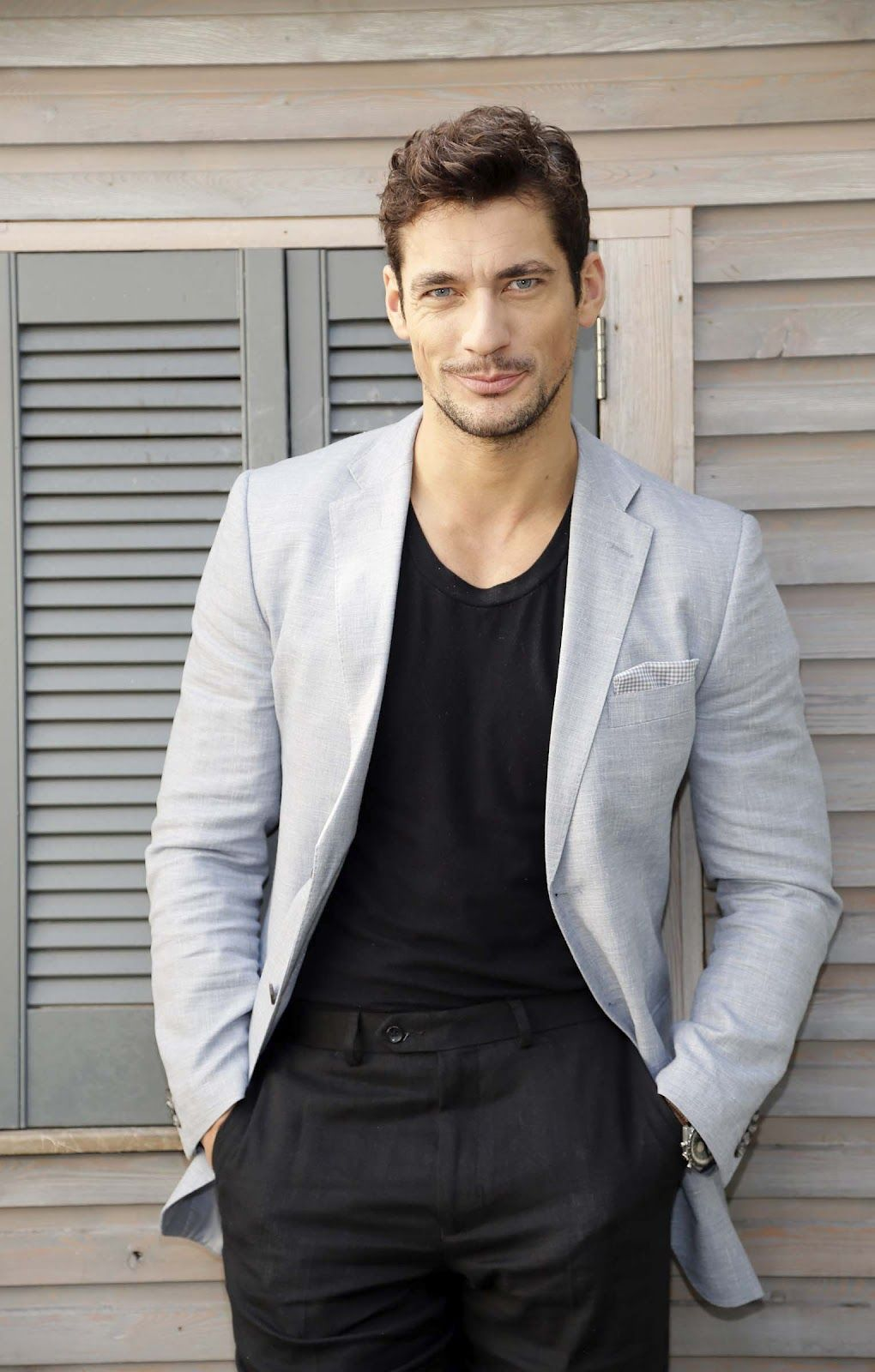 David Gandy wearing Grey Blazer, Black Crew-neck T-shirt, Black ...