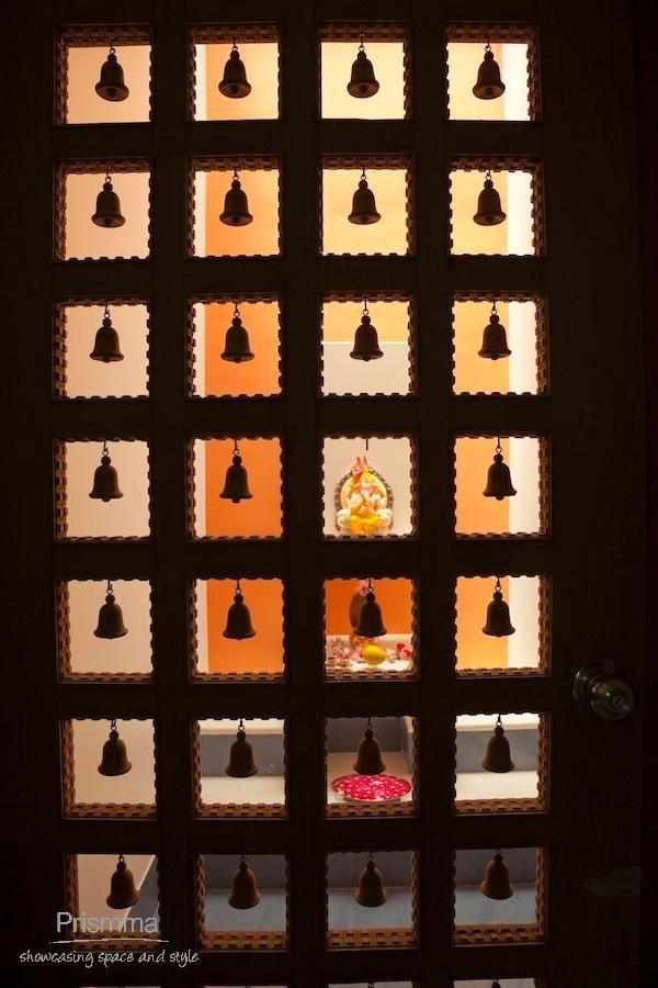 Delightful Puja Room Design. Home Mandir. Lamps. Doors. Vastu. Idols Placement.