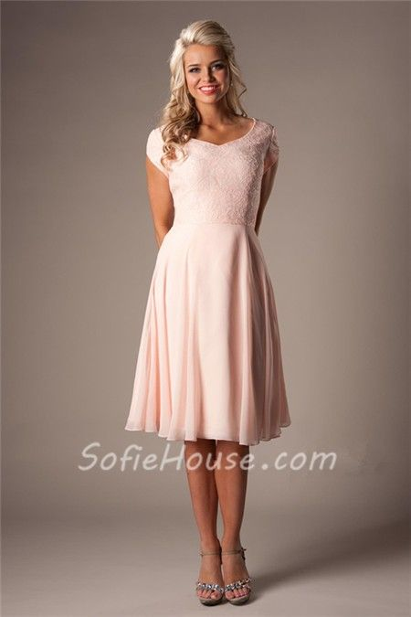 Modest A Line Sweetheart Short Sleeves Blush Pink Chiffon Lace ...