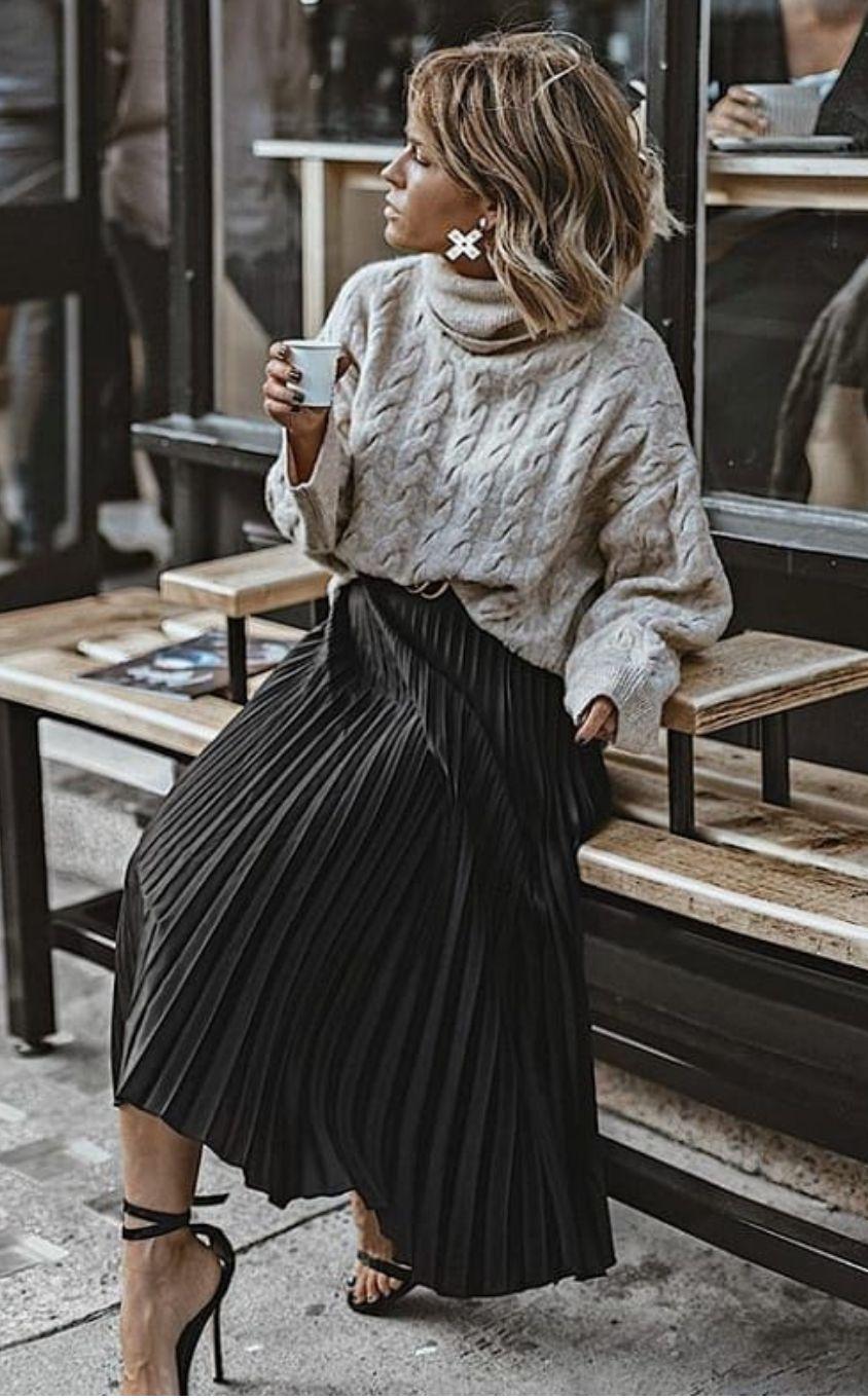Falda Negra Tablones Ropa De Moda Moda Estilo Moda